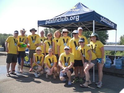 Portland Triathlon Club members at Aid Station mile 1.4/3.6 of the run course