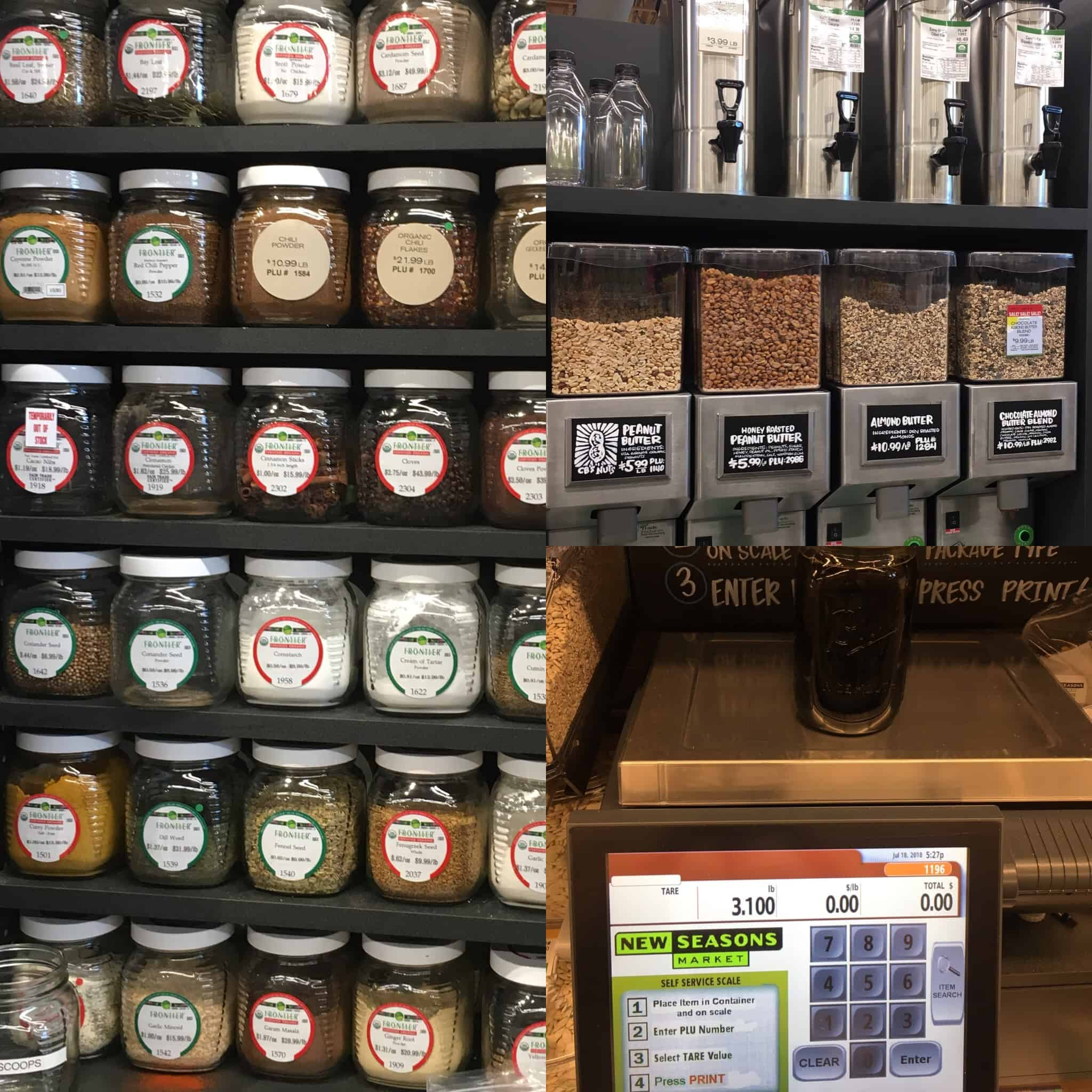 Photo collage of New Seasons Bulk Bin Offerings, including spices in glass jars; liquid dispensers, nut butter grinders, and tare weighing station. https://trimazing.com/