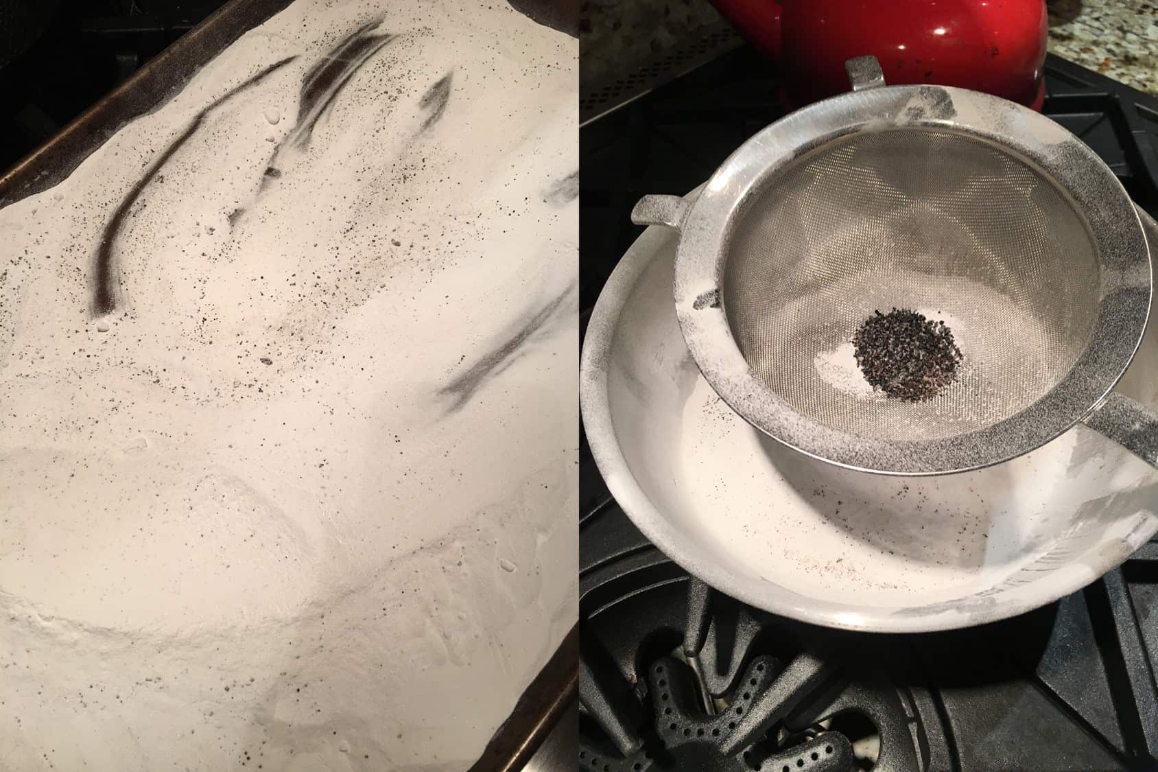 Photo of burned sugar in baked baking soda when making washing soda (left) and burned sugar in a fine sieve (right). https://trimazing.com/