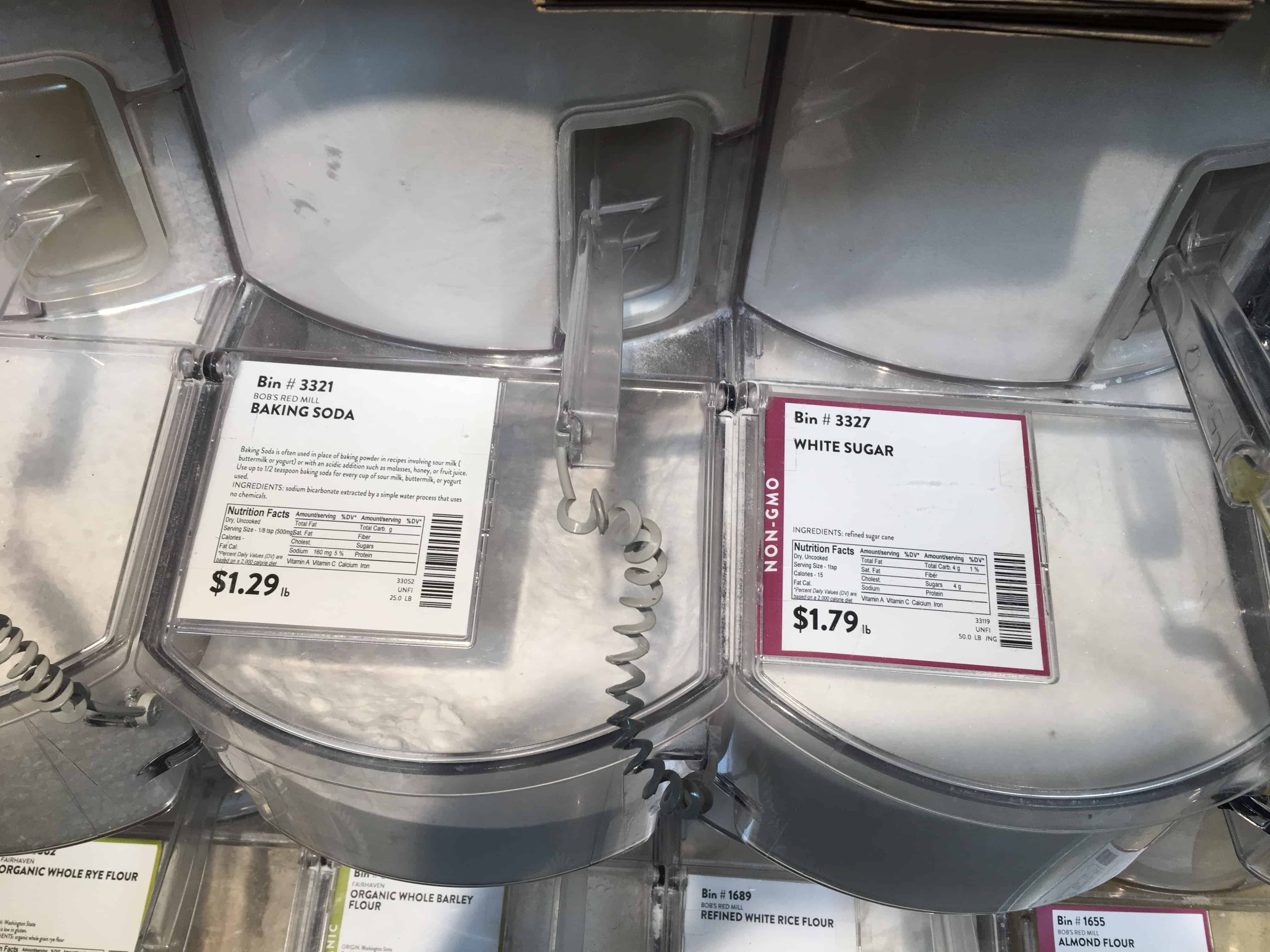 Bulk bin of Baking Soda and Sugar from PCC Market in Redmond, WA. https://trimazing.com/