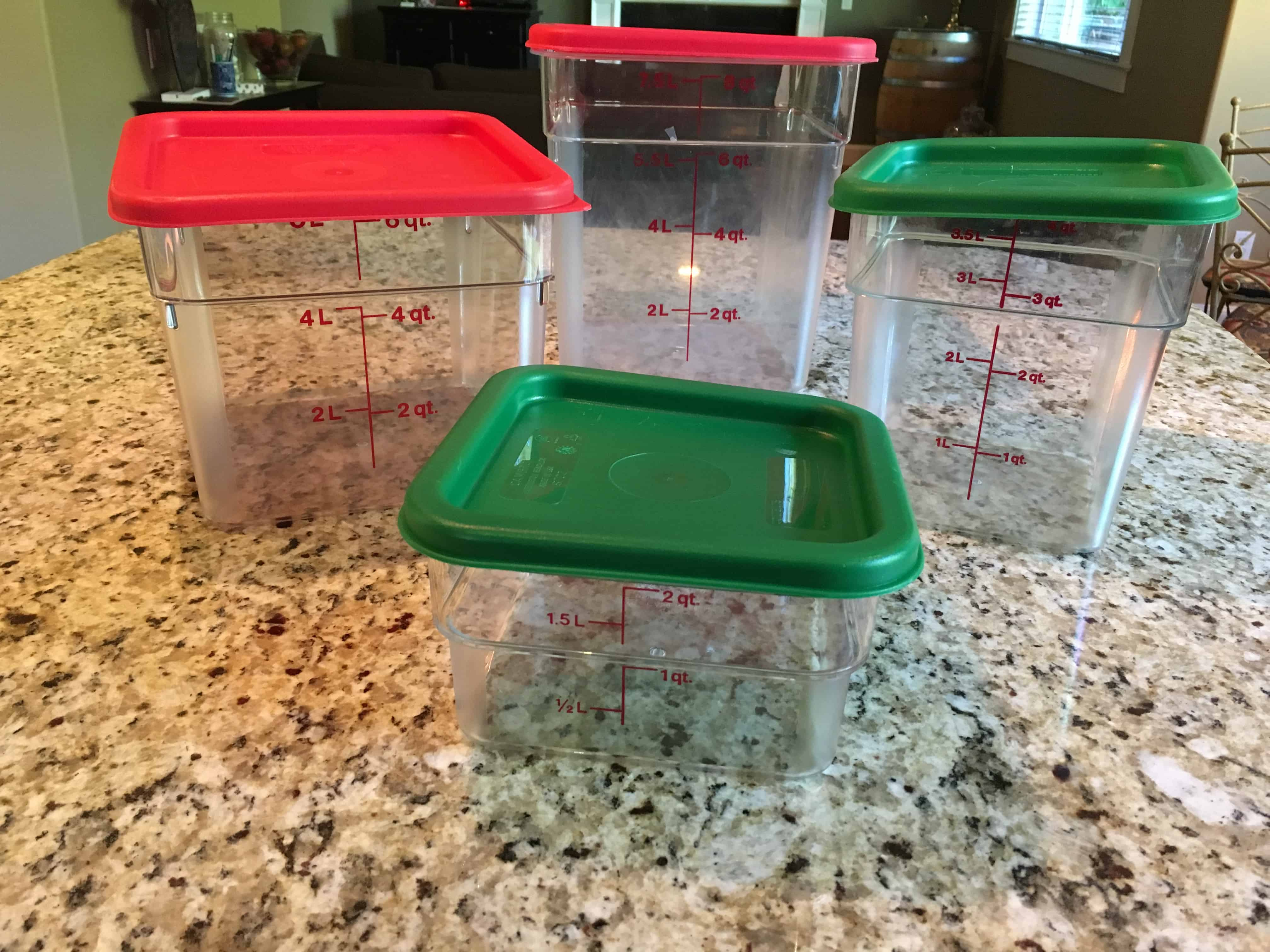 Four Restaurant-Quality Food Storage Containers with lids https://trimazing.com