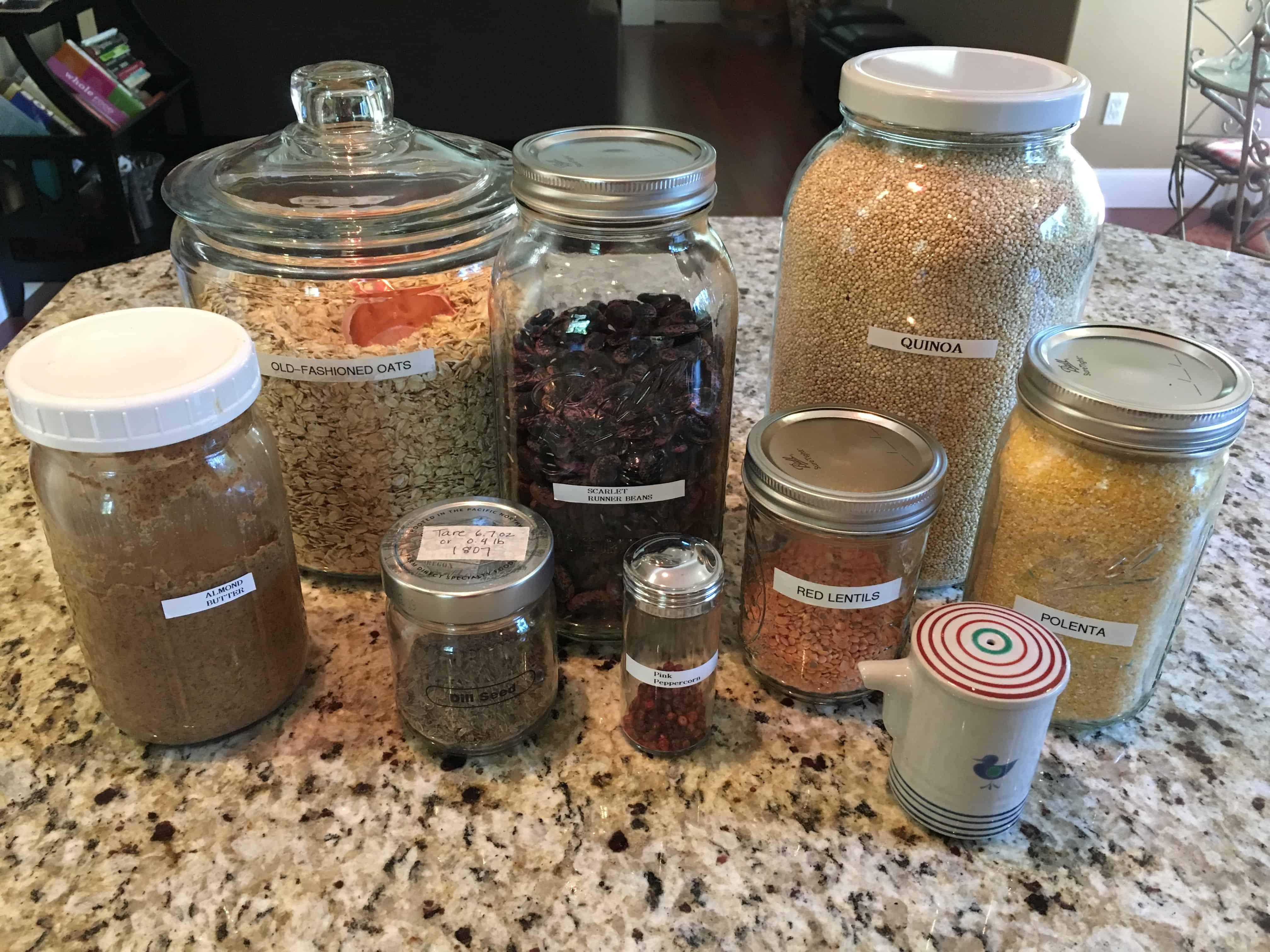 Collection of glass jars for pantry storage. https://trimazing.com
