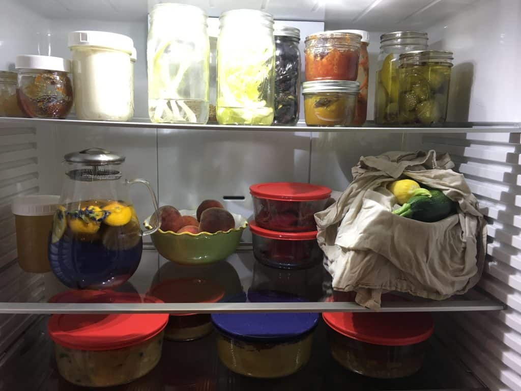 Inside refrigerator showing zero waste, plastic-free food storage. https://trimazing.com/