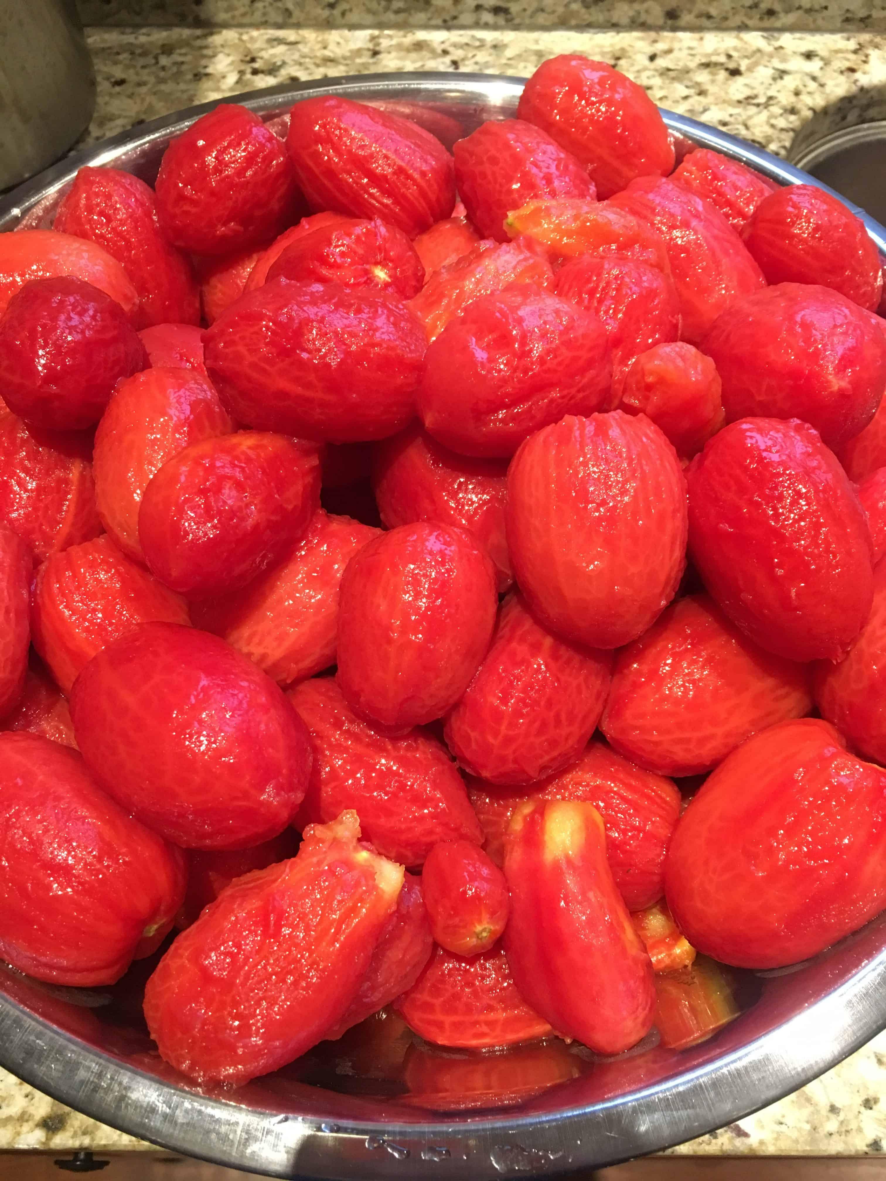 Peeled Roma and San Marzano tomatoes. https://trimazing.com