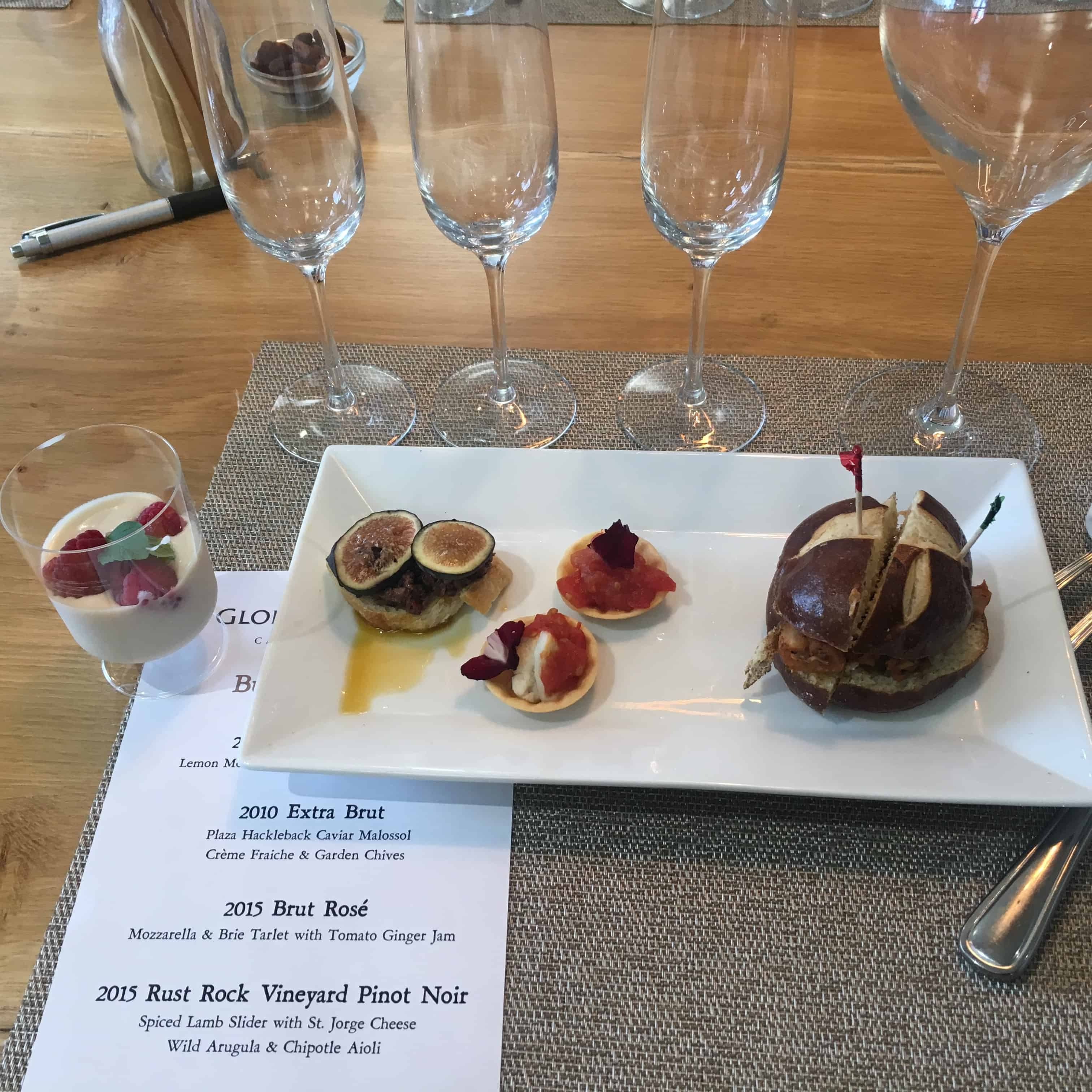 Wine tasting and vegan food pairing at Gloria Ferrer winery in Sonoma. https://trimazing.com/