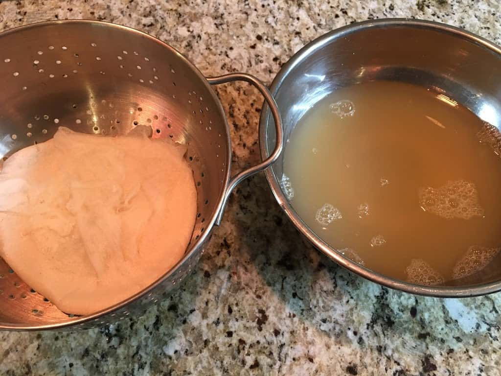 Pressed tofu one left, whey on right. https://trimazing.com/