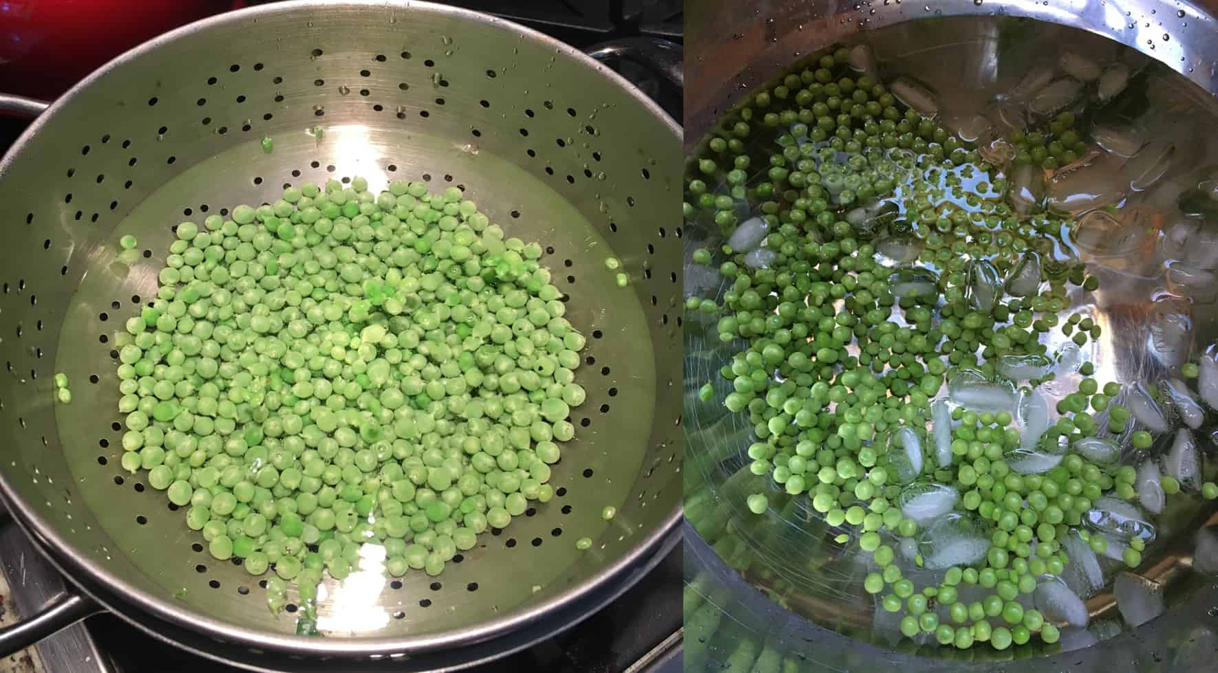 Green peas being blanched and shocked. https://trimazing.com/