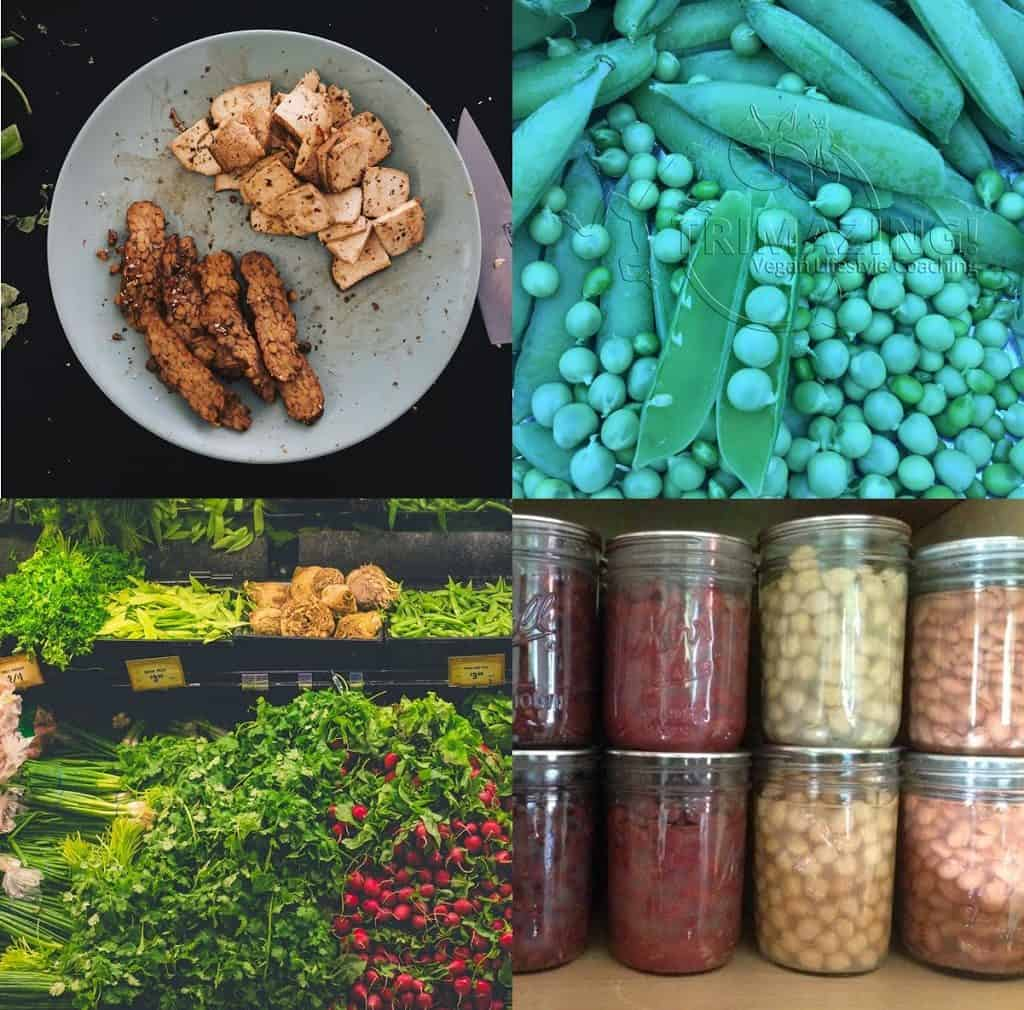 Some options for vegan protein. Clockwise, starting from upper left: Tempeh and tofu; peas; fruits and vegetables; beans.