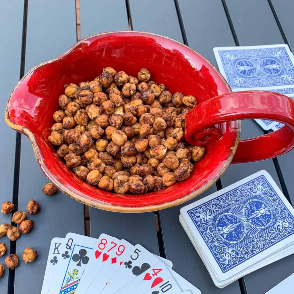 These chickpea snacks are perfect for playing cards or traveling!