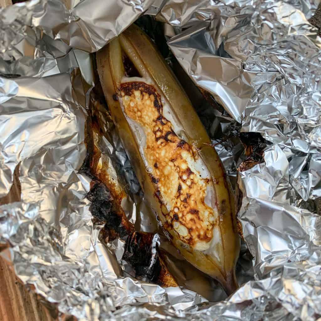 Perfectly toasted, ooey, gooey banana boat!