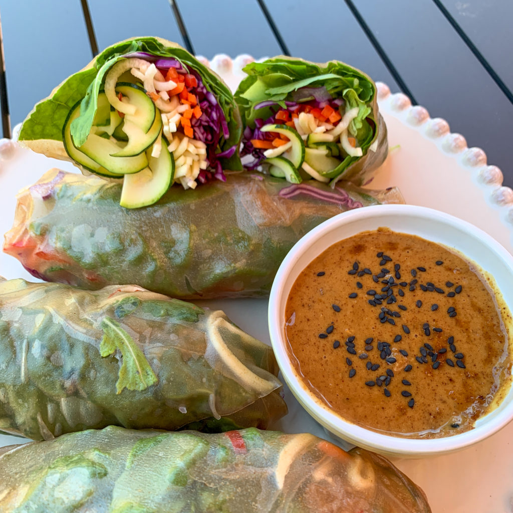 My Peanut Sauce goes great with Rainbow Salad Rolls!