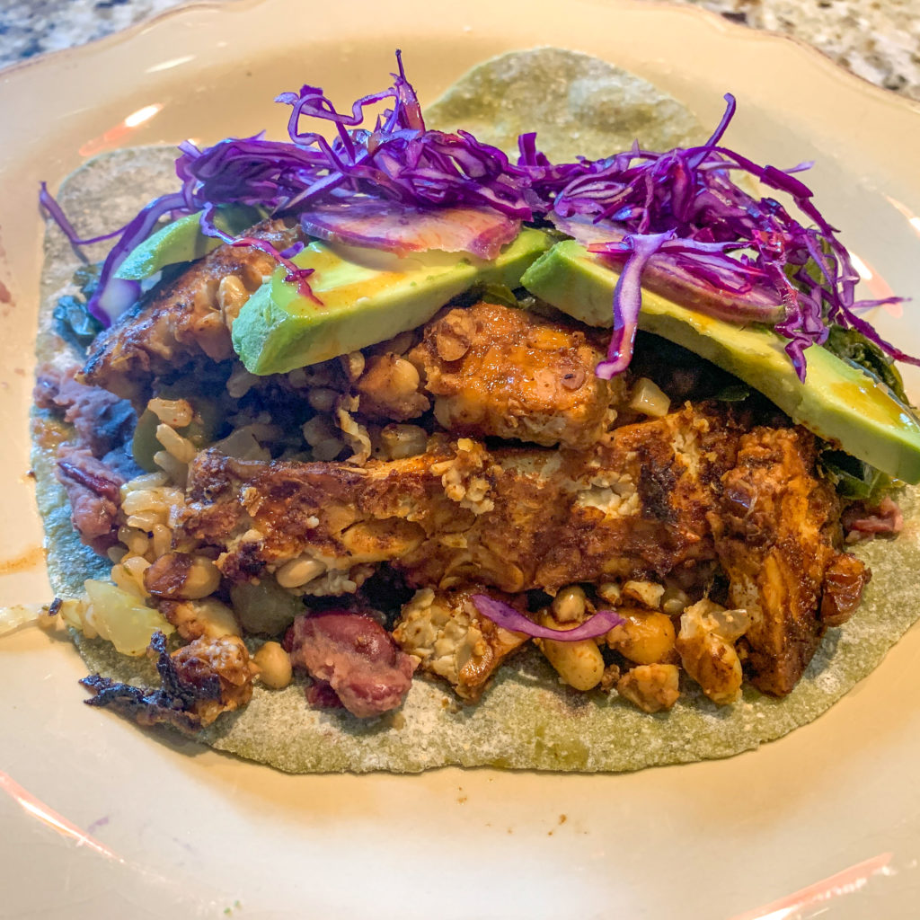 Blackened Tempeh Tacos, serving suggestion. Photo by Cindy Thompson, Trimazing.com